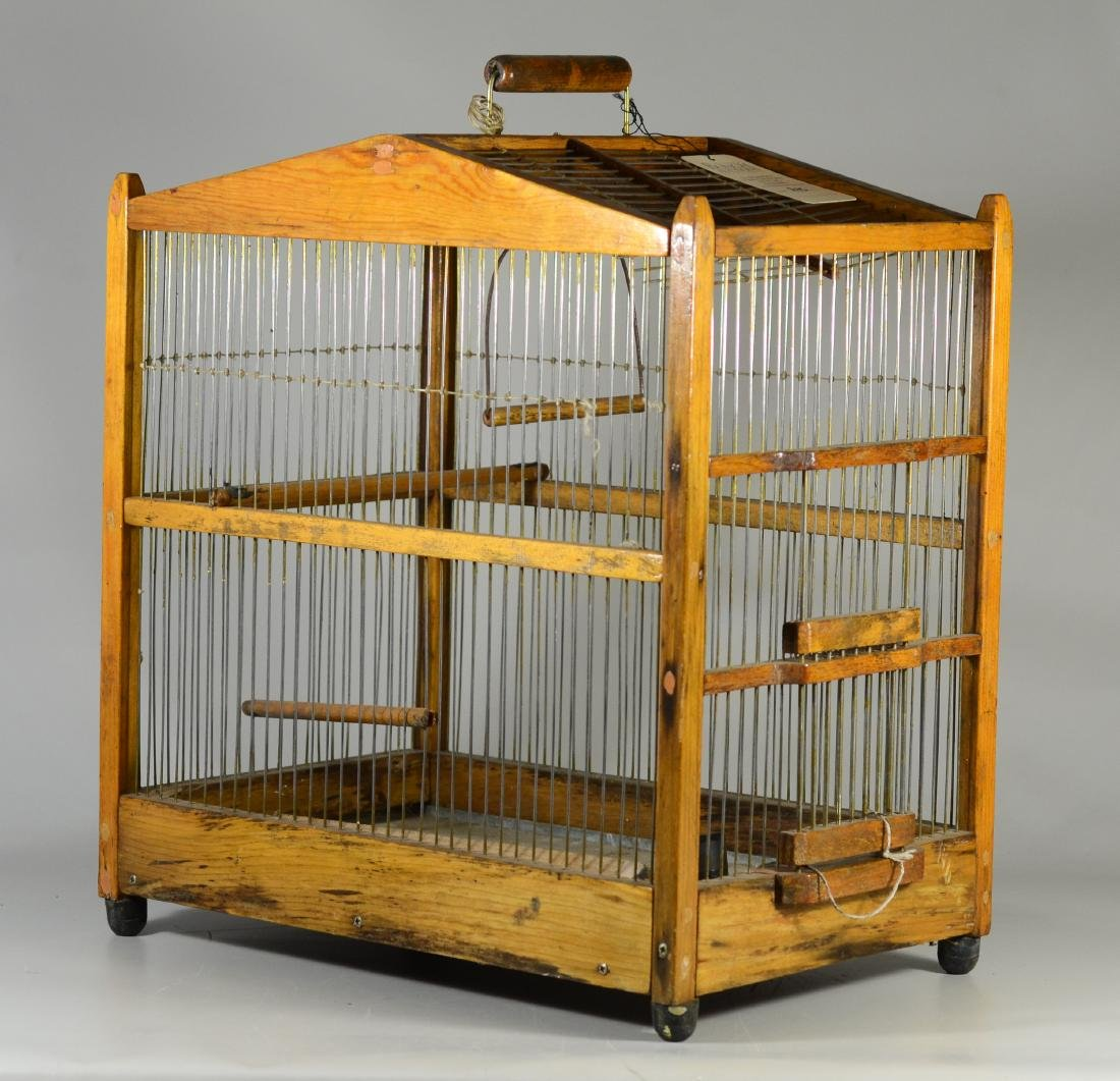 (4) bird cages: Hand Made Canary Coal Mine Cage w/ - 9