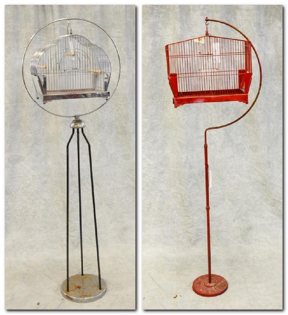 (2) bird cages on stands: Mid Century Modern Hendryx