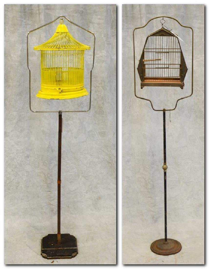 (2) bird cages on stands: Art Deco Pagoda Style Bird
