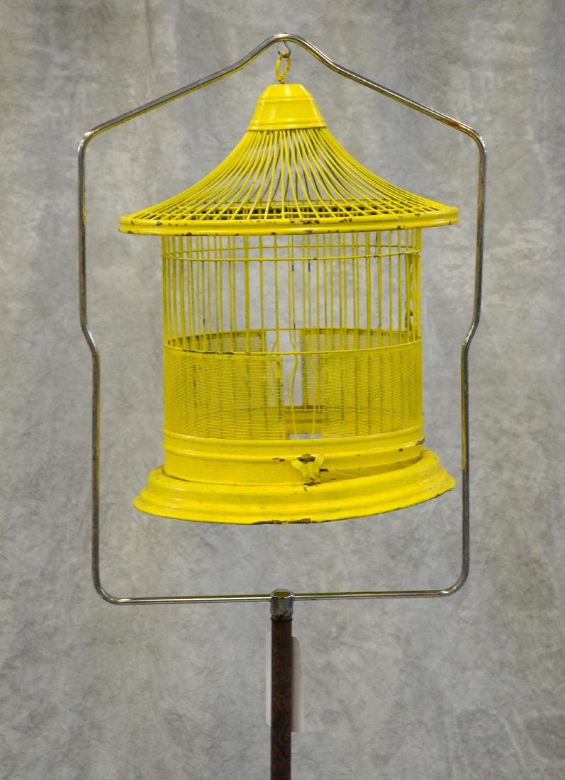 (2) bird cages on stands: Art Deco Pagoda Style Bird - 3