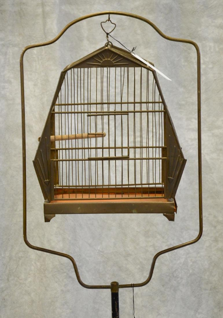 (2) bird cages on stands: Art Deco Pagoda Style Bird - 5