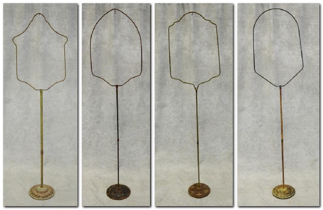 (4) bird cage stands: Early Medallion Shape Bird Cage