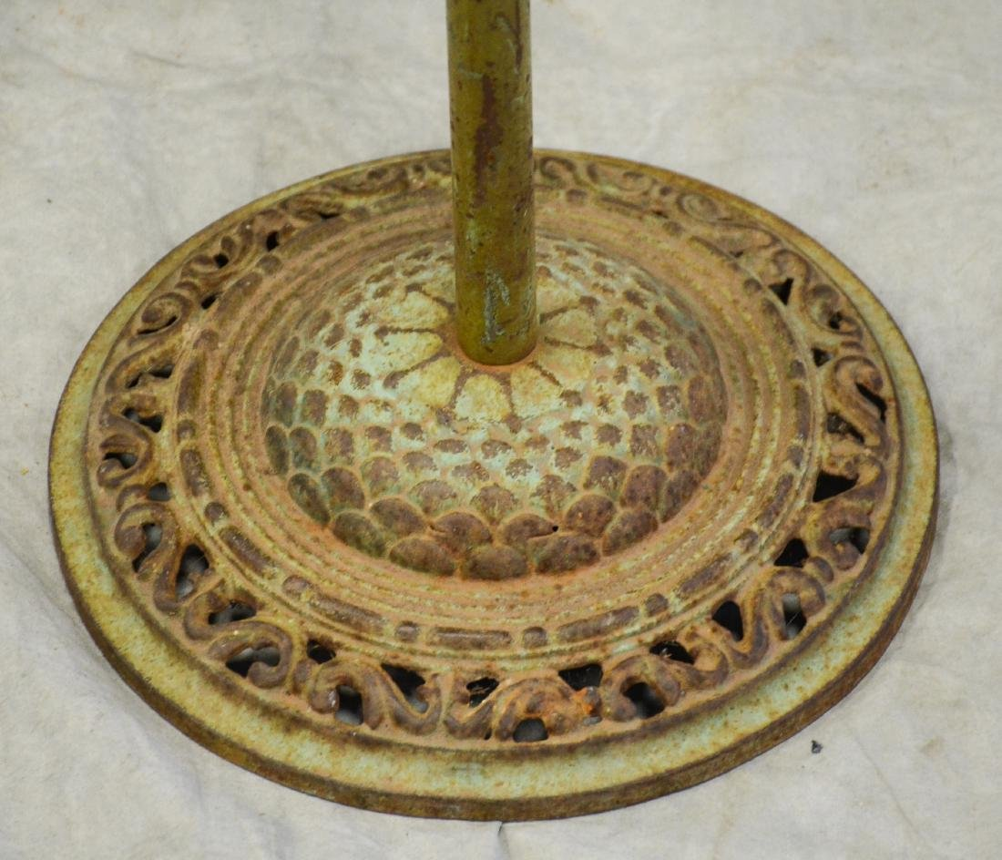 (4) bird cage stands: Early Medallion Shape Bird Cage - 3