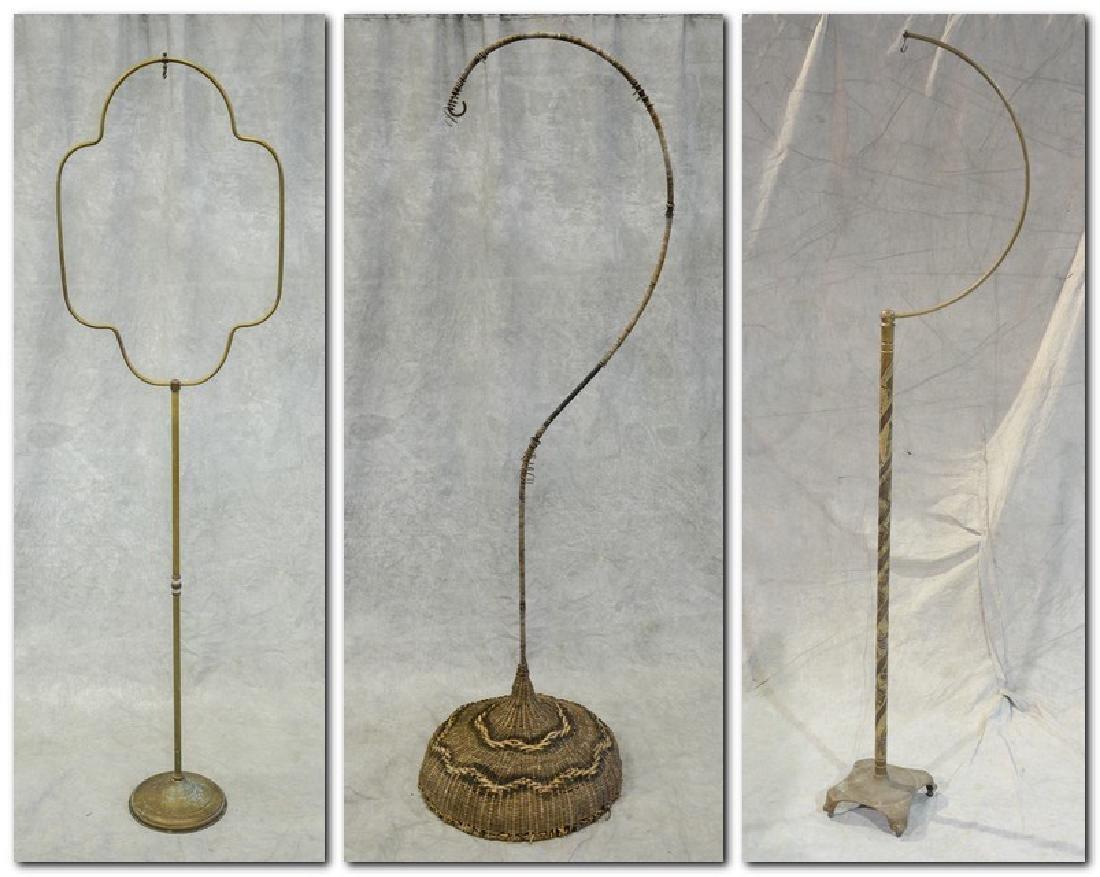 (3) bird cage stands: RARE Antique Brass Lozenge Shape