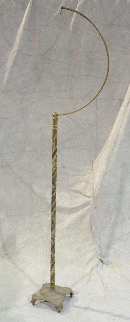 (3) bird cage stands: RARE Antique Brass Lozenge Shape - 5