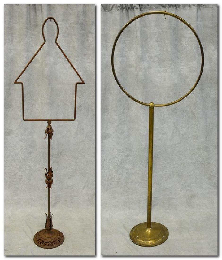 (2) bird cage stands: Massive Brass Antique Hoop Style