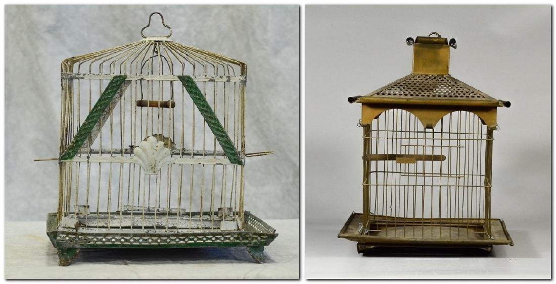 (2) bird cages: Rare O.L. Lindemann Brass Victorian
