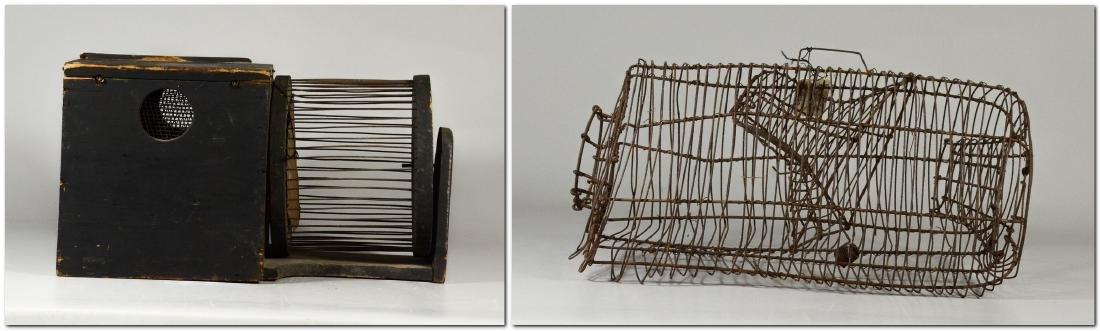 (2) Squirrel Cages, rat trap: RARE 19th Century