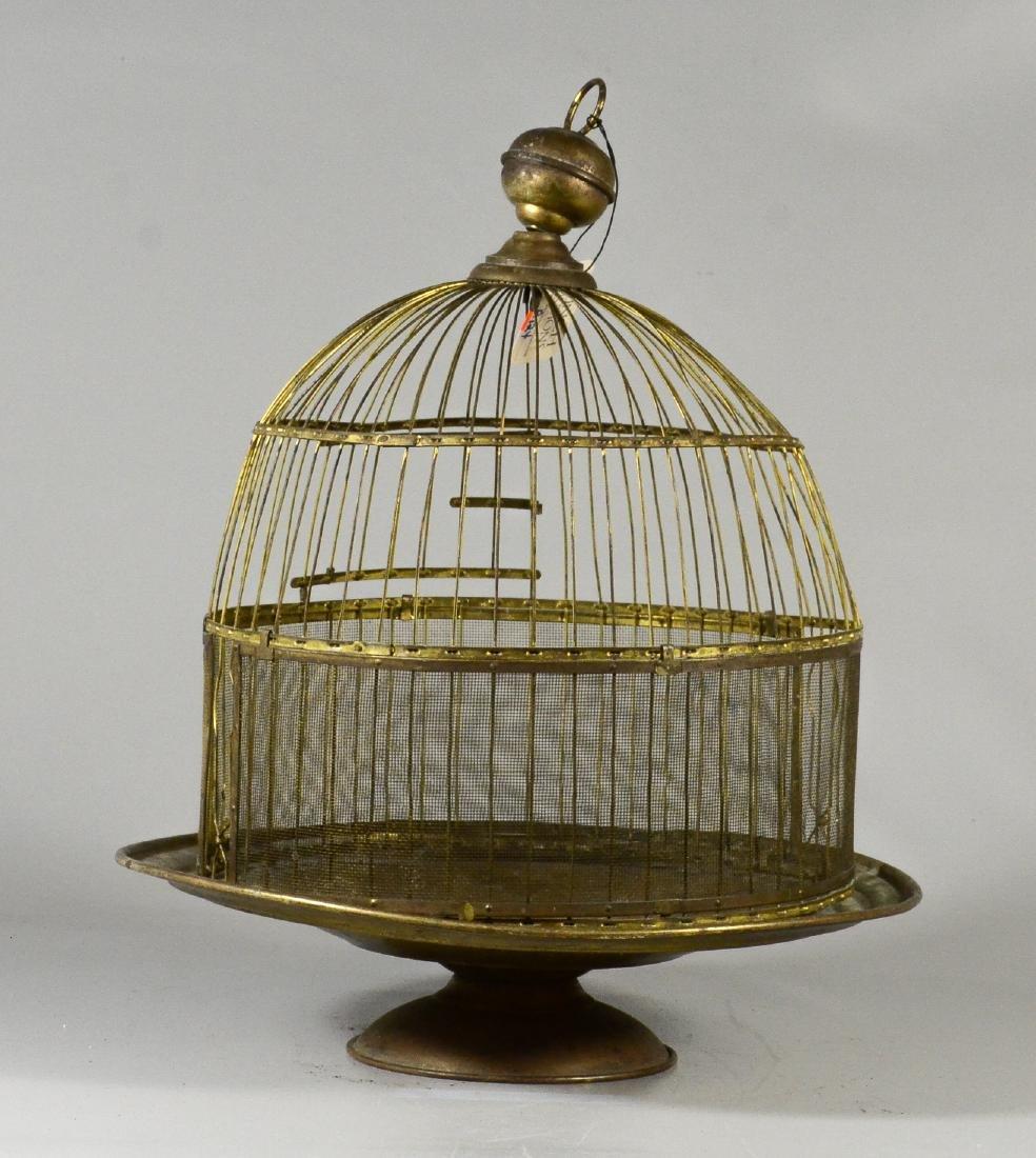 (3) bird cages: Victorian Brass Beehive Bird Cage w/ - 4