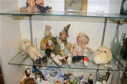 Lot (7) dolls, (3) bisque Kewpies, composition doll,