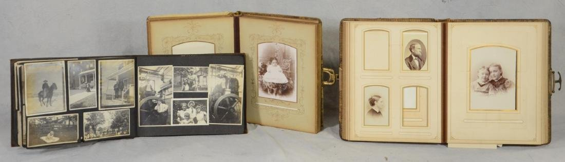 3 Albums: Victorian Leather Bound Photo Album  c1880