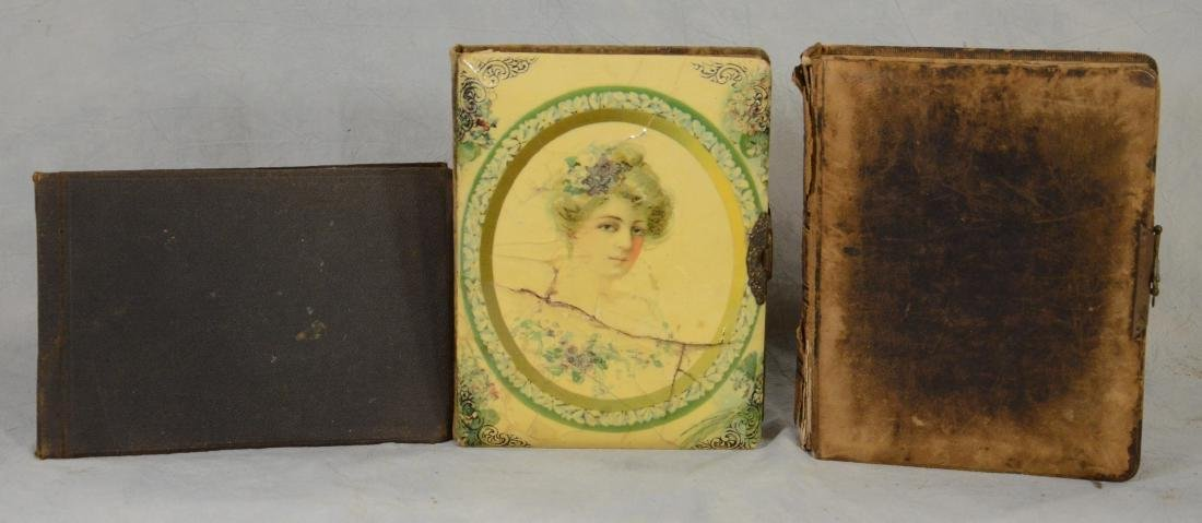 3 Albums: Victorian Leather Bound Photo Album  c1880 - 2