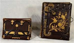 (2) photo albums: Leather Bound Victorian Eastlake