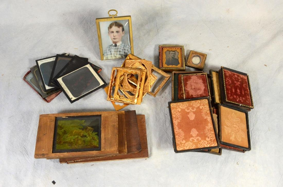 Tintype/Magic Slide/Glass Negative Lot: Victorian Cased