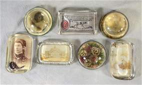 19th Century Memorial Glass Paperweights   4 w