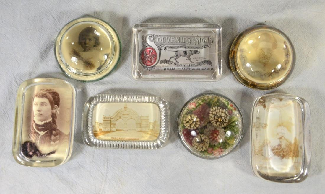19th Century Memorial Glass Paperweights   (4) w/