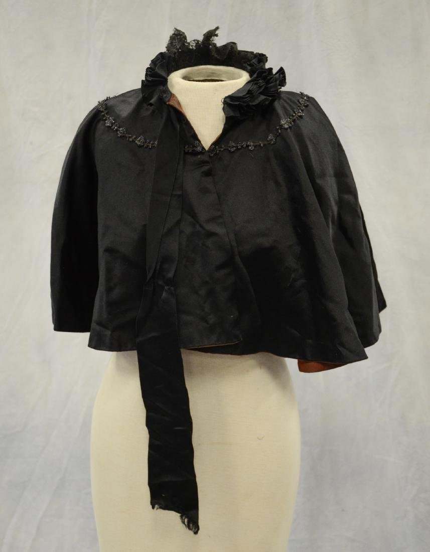 (4) Black Victorian Mourning Clothing items + a bustle: - 10