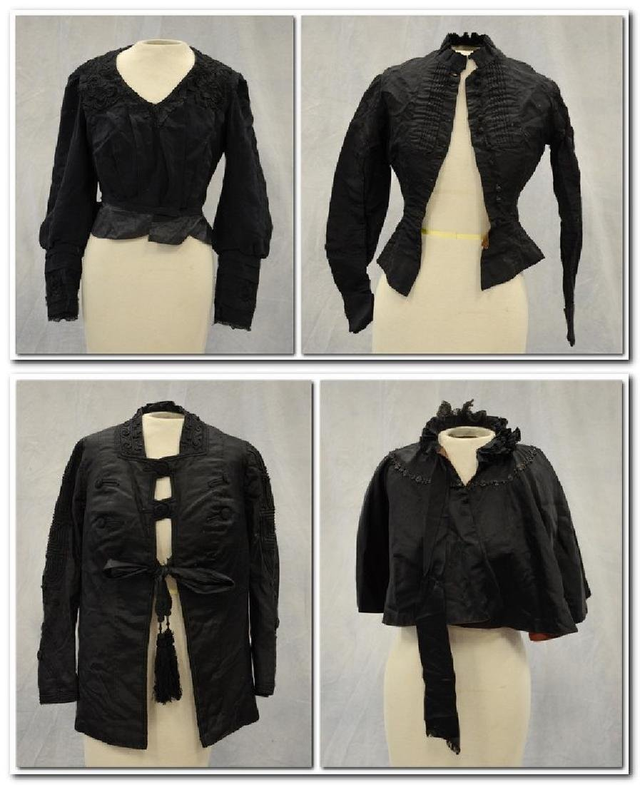 (4) Black Victorian Mourning Clothing items + a bustle: