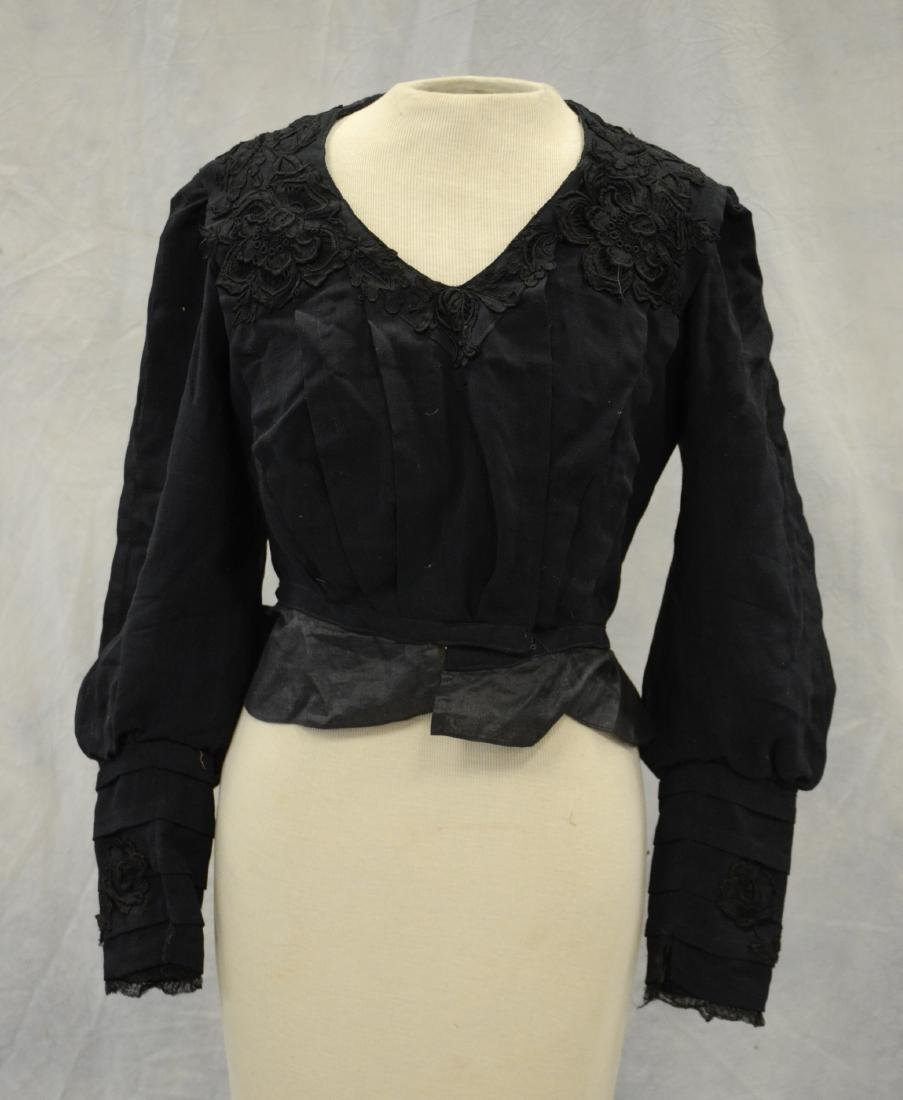 (4) Black Victorian Mourning Clothing items + a bustle: - 2