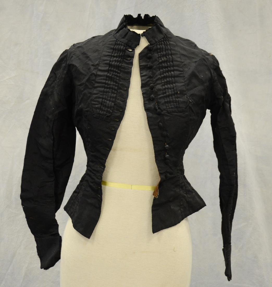 (4) Black Victorian Mourning Clothing items + a bustle: - 5
