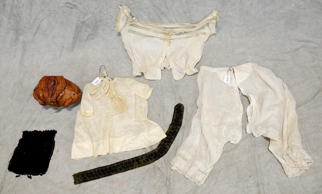 (3) White Victorian clothing item plus 3 accessories: