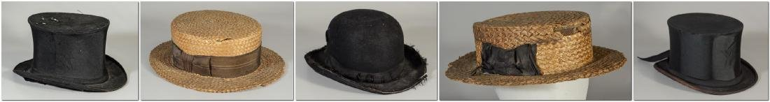 (8) Men's top hats/boaters/bowler: (2) Victorian Beaver