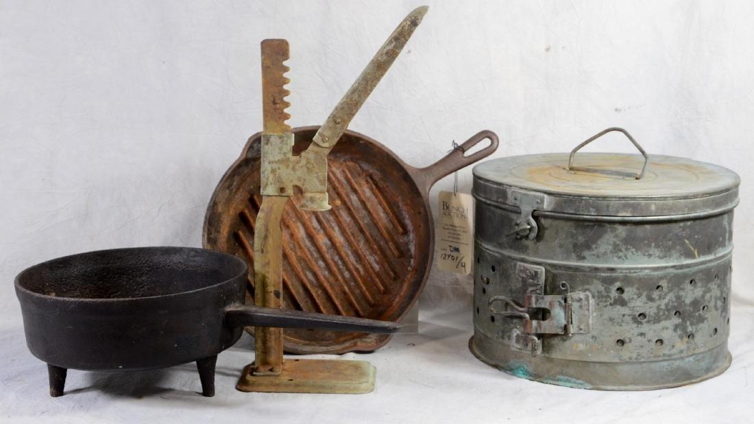 (4) pcs metal ware: Early Tri Metallic Cheese Press
