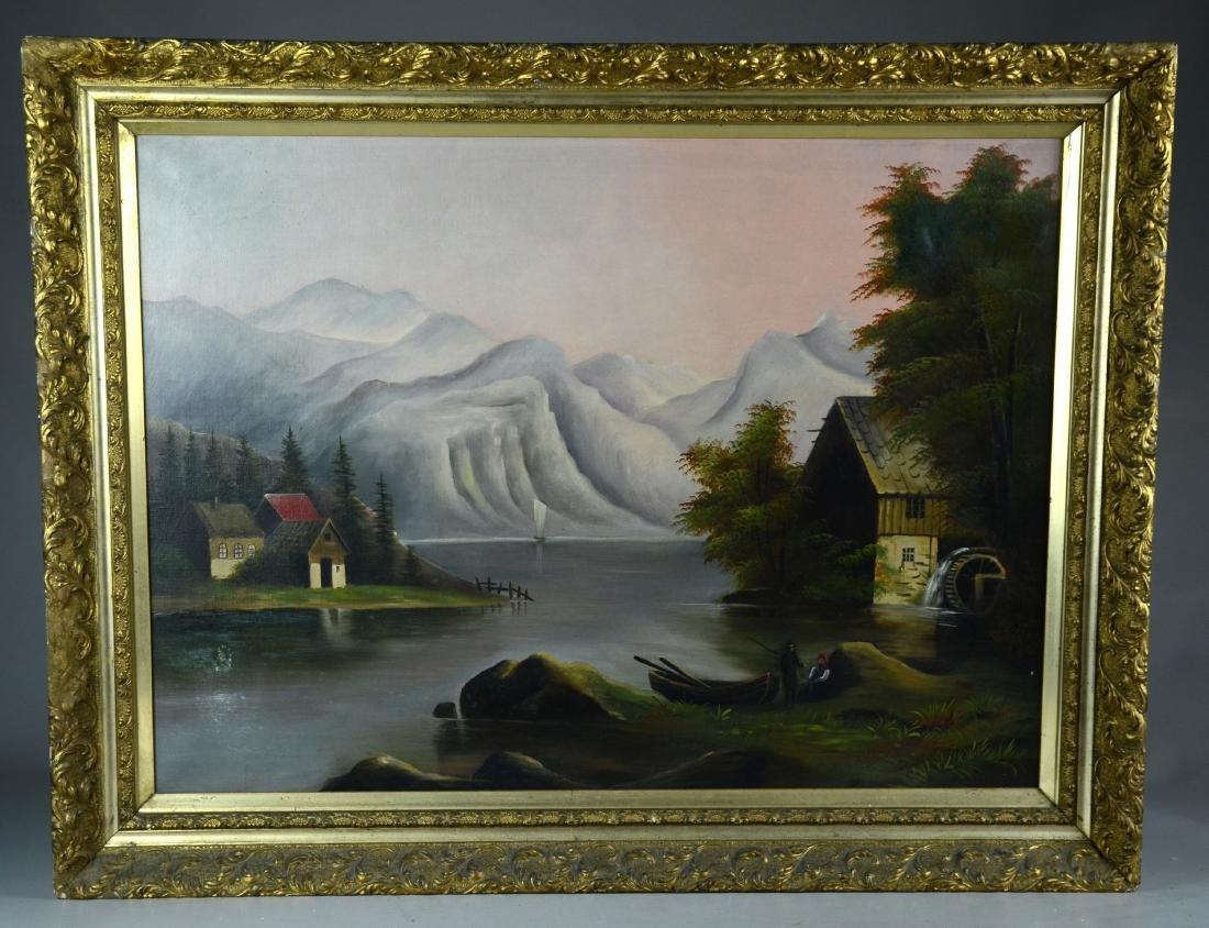 Unsigned oil on canvas, landscape