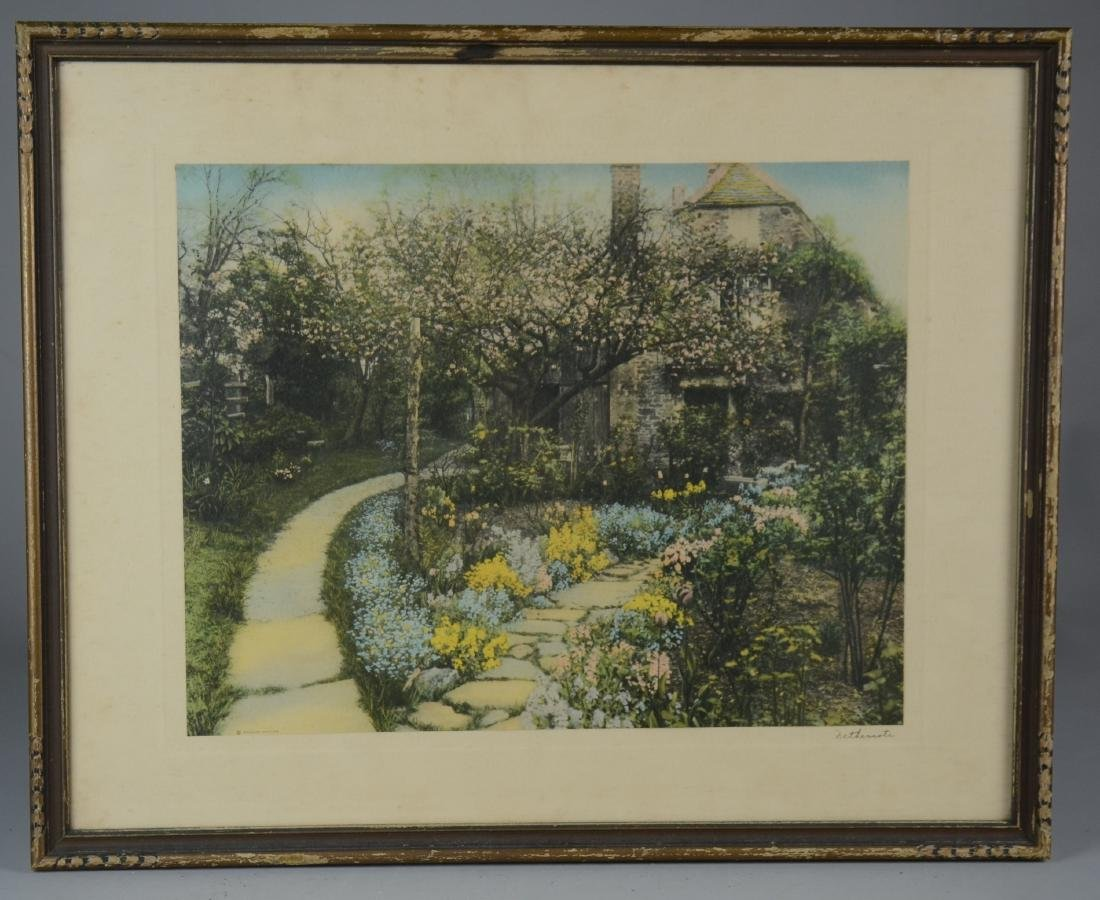 Photographic print by Wallace Nutting of a cottage and