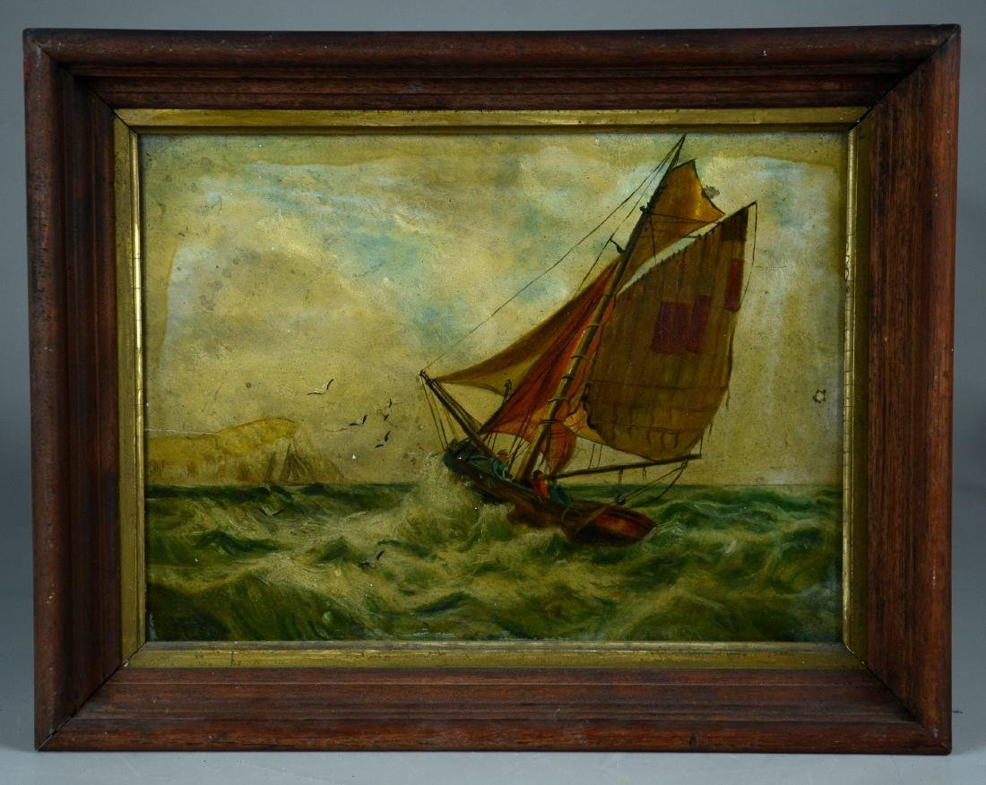 Unsigned oil on artist's board, a sailboat being tossed