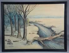 Winter forest scene watercolor