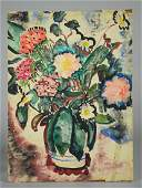 Watercolor still life of flowers in a vase
