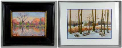 2 works Ruth G Senter PWS watercolor farmhouse in