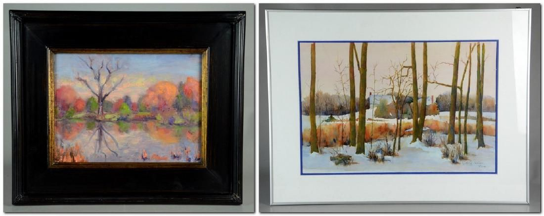 (2) works: Ruth G Senter, PWS, watercolor farmhouse in