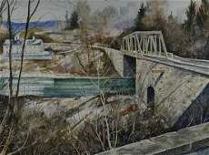 W James McGlynn Watercolor Rising Sun Bridge Henry