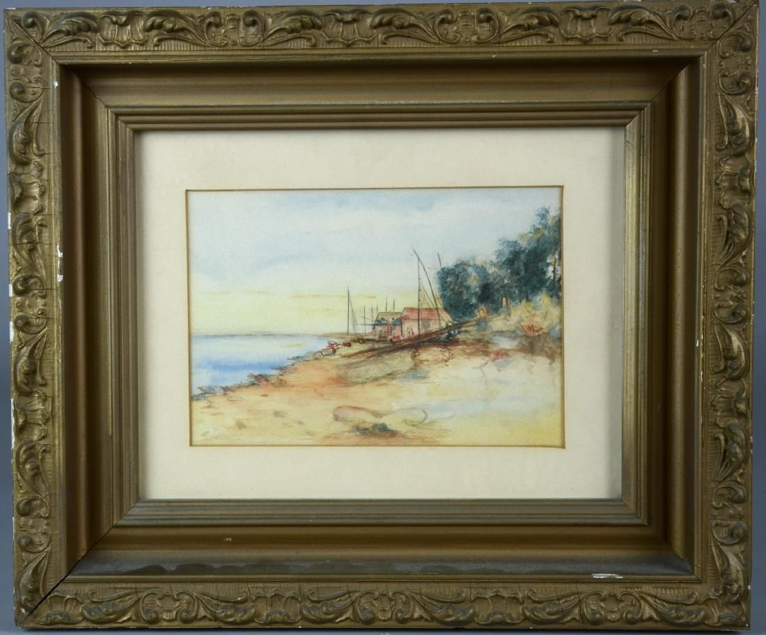 Unsigned watercolor on paper, beach scene with