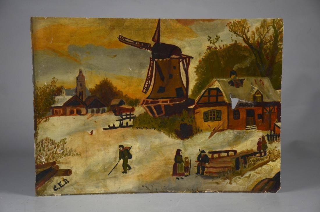 Oil on canvas of a Scandinavian scene