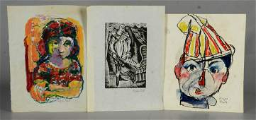 Biagio Pinto American 19111989 3 works on paper
