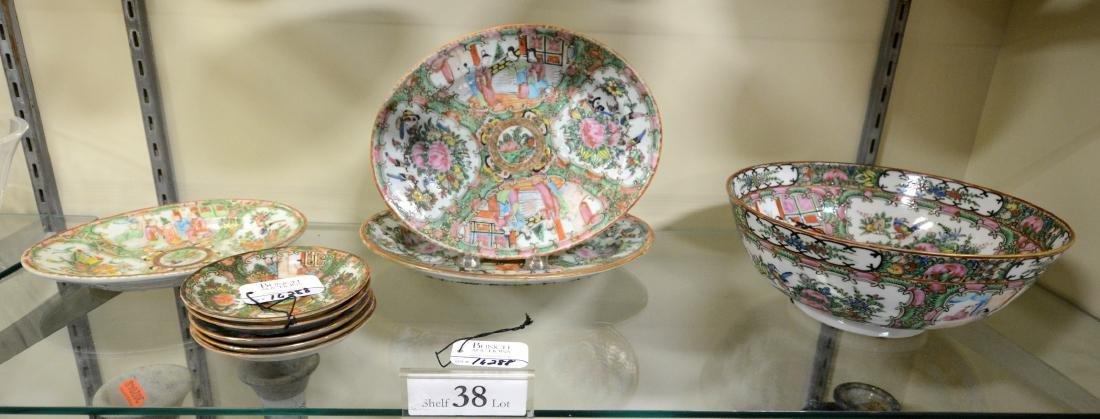 Shelf #38 - (9) Pcs Rose Medallion Porcelain