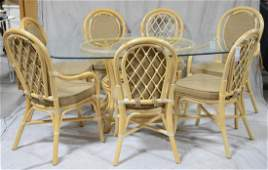 8 pc Rattan Co faux bamboo dining set