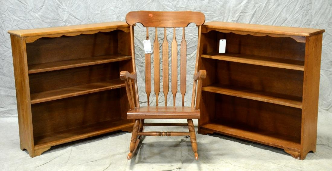 Pair French style bookcases, Windsor rocking chair