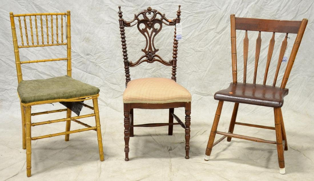 Rosewood carved side chair, faux bamboo side chair,