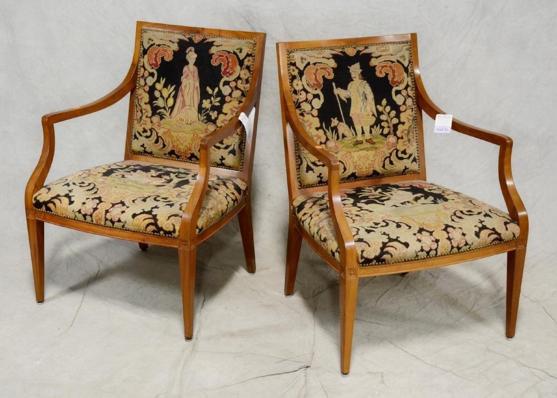 Pair Mahogany Edwardian open arm chairs