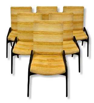 6 John Stuart Ebonized Upholstered Dining Chairs