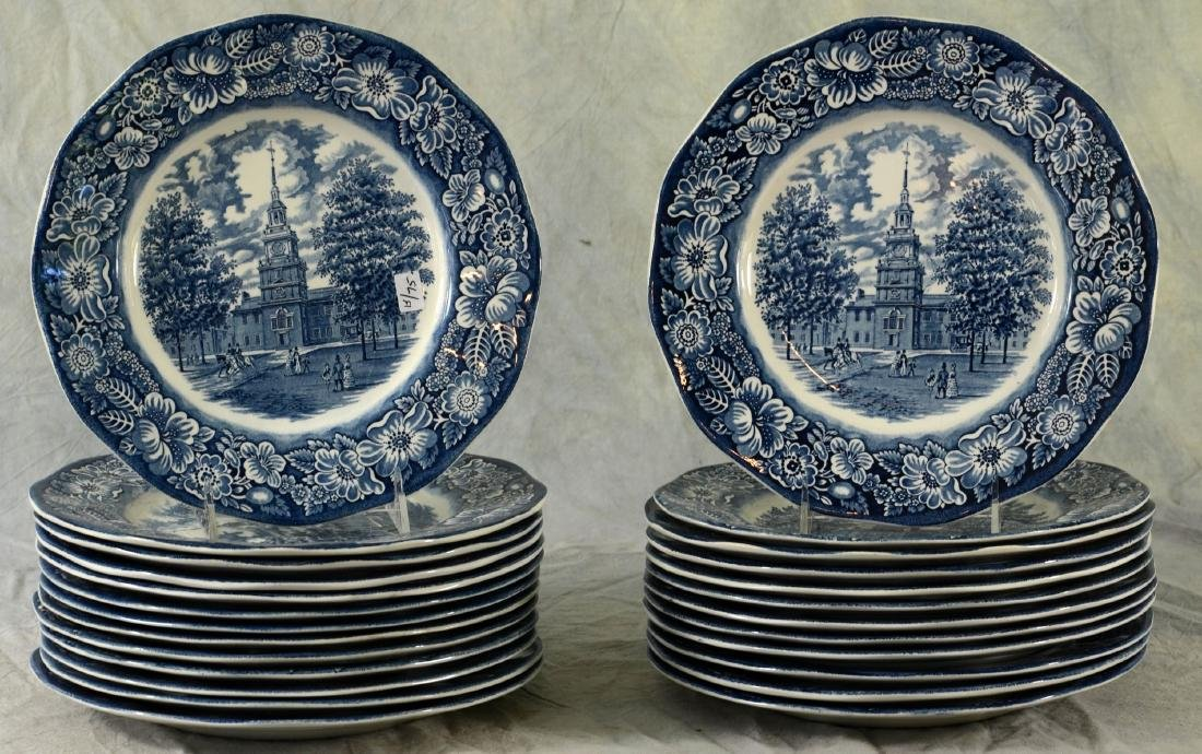 (25) Staffordshire Liberty Blue Plates