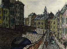 Kaufman Painting of a French Village Scene