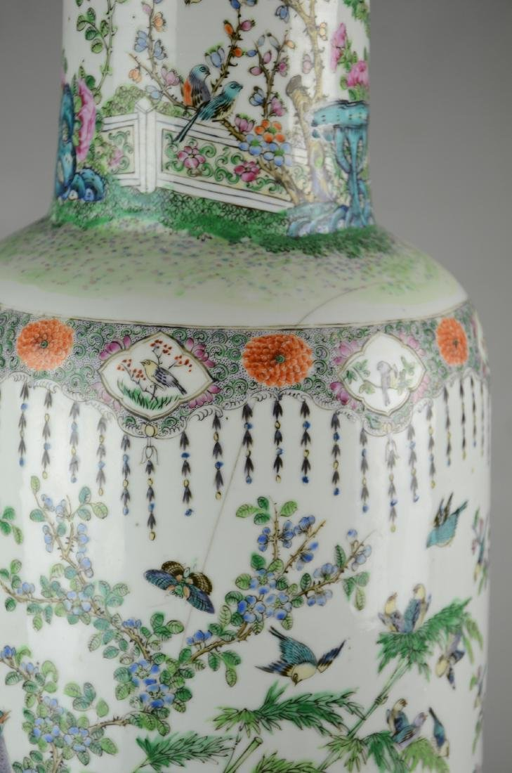 Chinese Famille Rose Rouleau Vase - 2