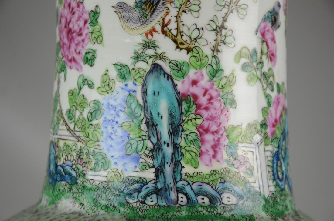 Chinese Famille Rose Rouleau Vase - 4