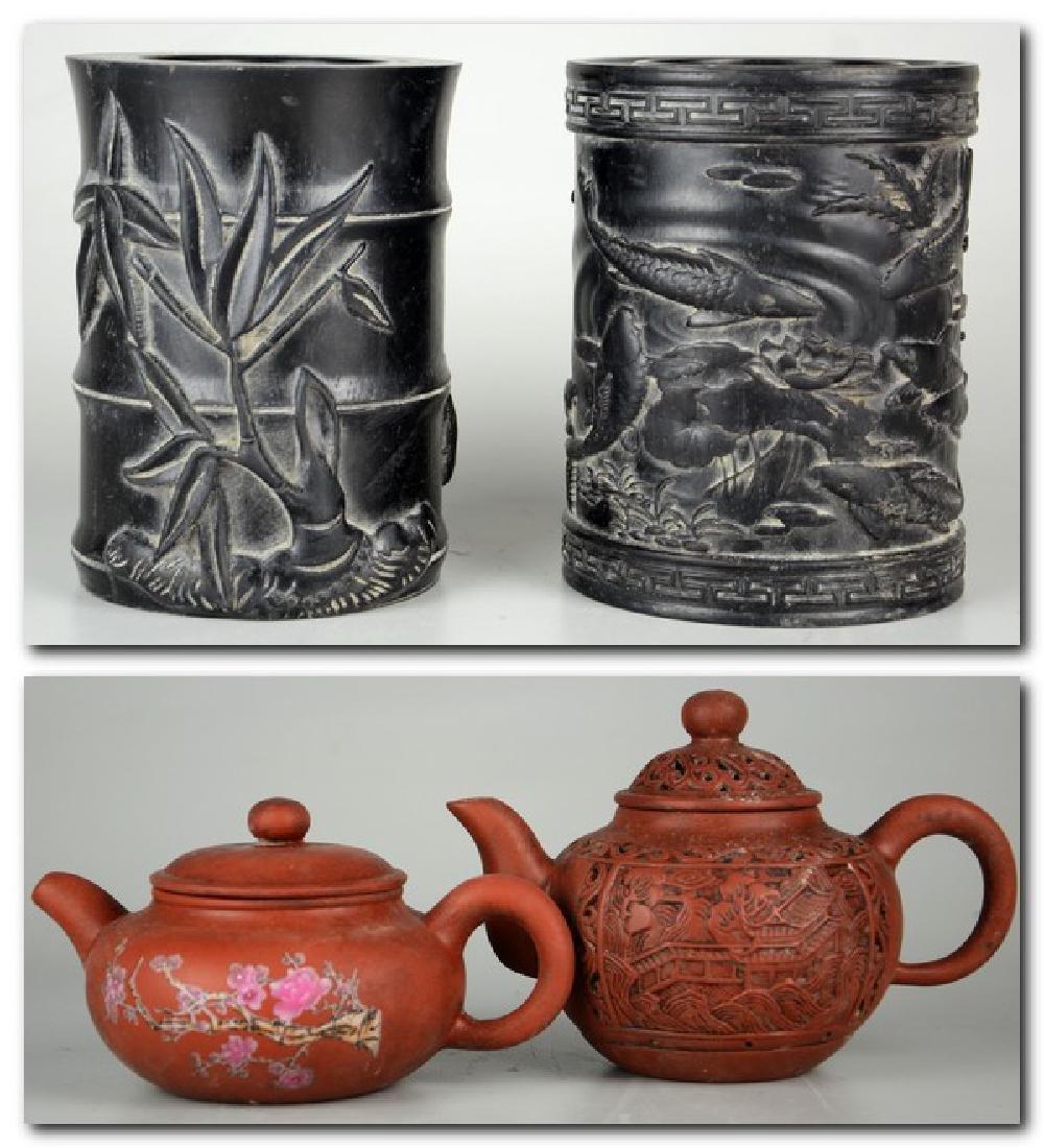 Chinese Zisha Teapots; Chinese Carved Brush Pots