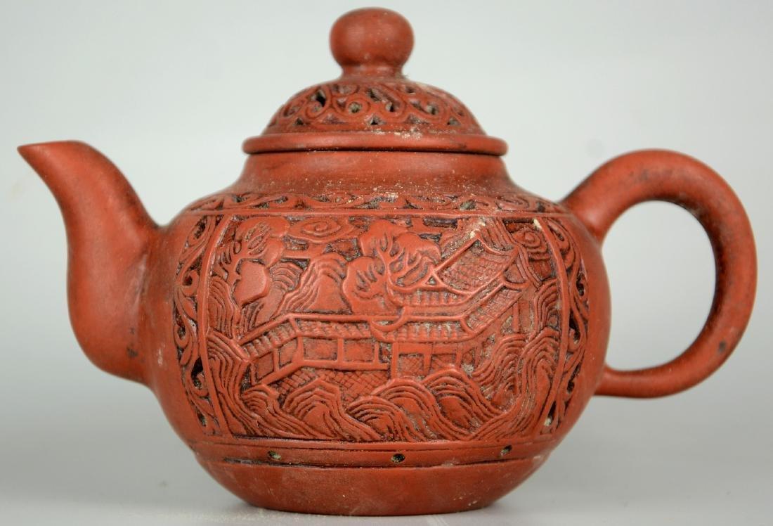 Chinese Zisha Teapots; Chinese Carved Brush Pots - 5